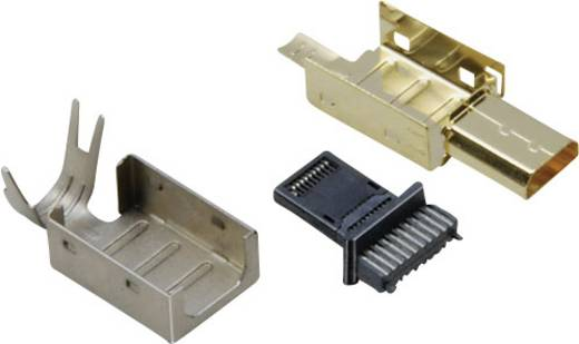 HDMI dugaszolós csatlakozó dugó, egyenes pólusszám: 19 Gold BKL Electronic 0905008 1 db