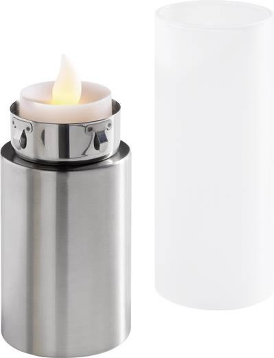 LED-es gyertya, mécses, szél ellen védett tartóban, 3 db-os készlet, SH02+MP02-37LED