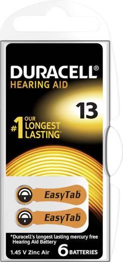 ZA13 hallókészülék elem, cink-levegő, 1,4V, 300 mAh 6 db, Duracell DA13, PR48