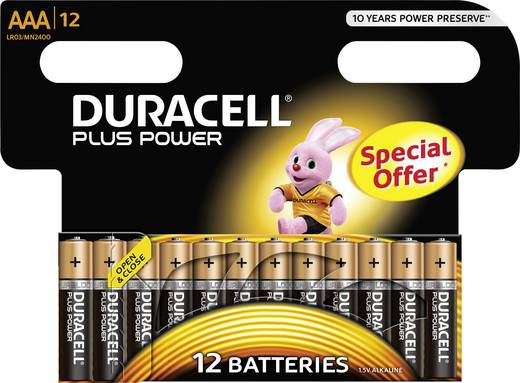 Mikroelem AAA, alkáli mangán, 1,5V, 12 db, Duracell Pluspower LR03, AAA, LR3, AM4M8A, AM4, S