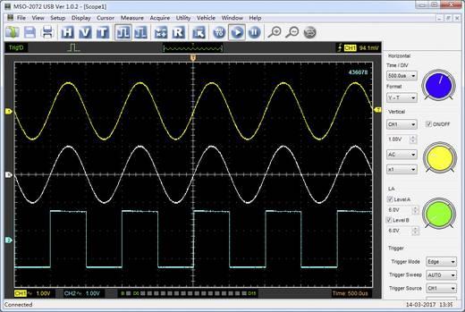USB-s 2 csatornás oszcilloszkóp előtét, 16 csatornás logikai analizátor 70 MHz Voltcraft MSO-2072USB