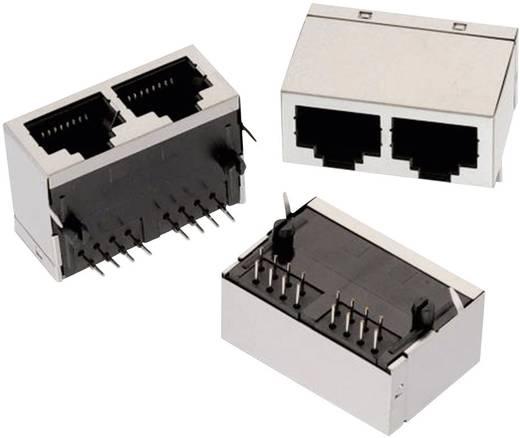 RJ45 beépíthető dupla csatlakozó aljzat, 8P8C, vízszintes, Würth Elektronik 615016137621