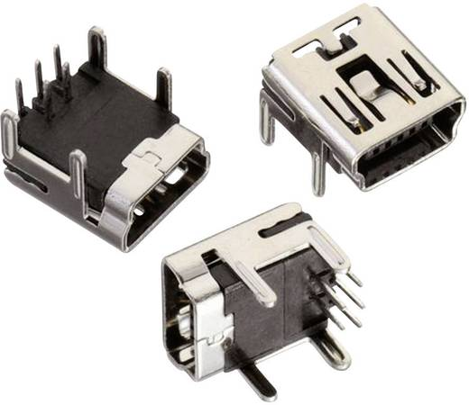 Mini USB B típus, fekvő, 5 pólusú, WR-COM Alj, beépíthető, vízszintes Würth Elektronik Tartalom: 1 db
