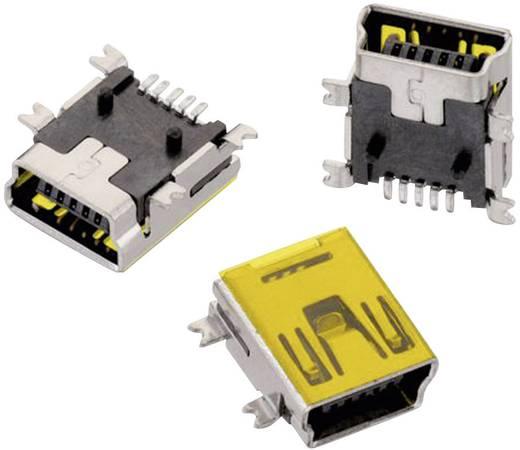 SMD mini USB B típus, fekvő, 5 pólusú, WR-COM Alj, beépíthető, vízszintes Würth Elektronik Tartalom: 1 db