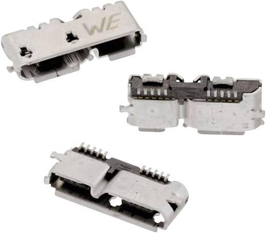 Mikro USB B típus, fekvő, SMD WR-COM Alj, beépíthető, vízszintes Würth Elektronik Tartalom: 1 db