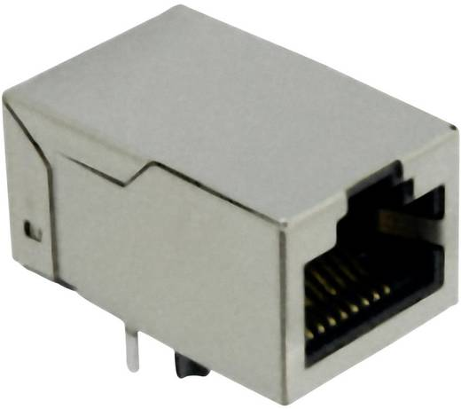 RJ45 beépíthető hüvely, vízszintes, 8 pólus, nikkelezett, fémes, Würth Elektronik 7499010001A 1 db