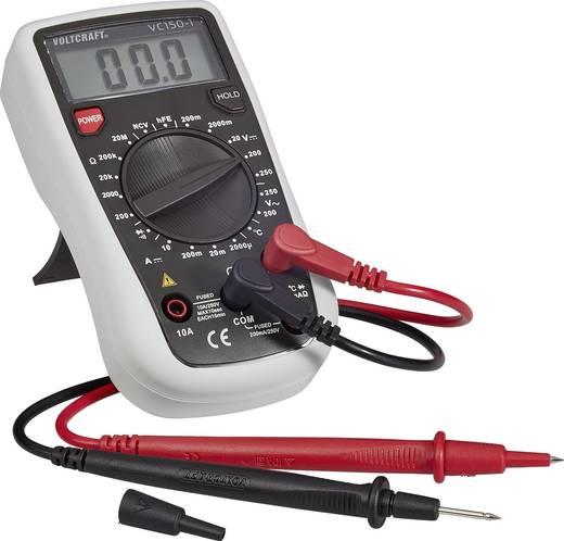 Digitális multiméter, mérőműszer, hőmérséklet mérő és tranzisztor tesztelő funkció 250V AC/DC 10A/DC Voltcraft VC 150-1