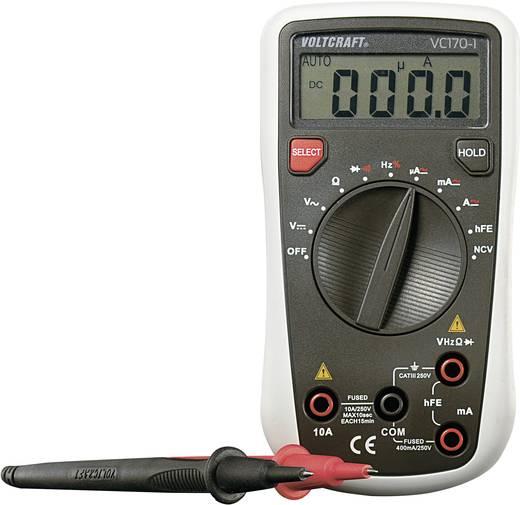 Digitális multiméter, mérőműszer, tranzisztor tesztelő és kitöltési tényező mérés 250V AC/DC 10A AC/DC Voltcraft VC170-1
