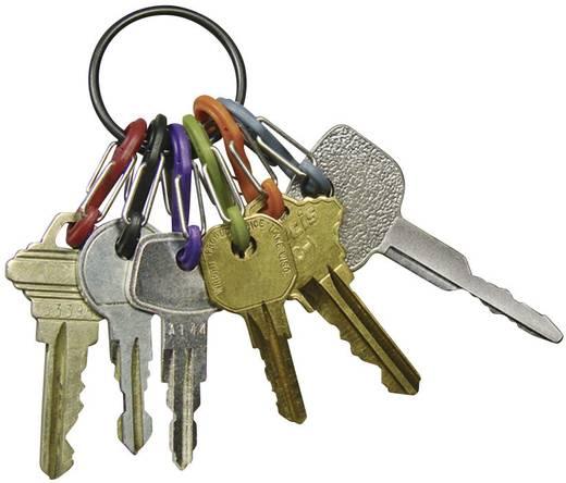 Kulcskarika, fekete, 6 színű karabínerrel NI-KRG-03-11 Kulcstartó karika, 6 S-Biner NITE Ize