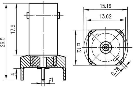 BNC csatlakozó Alj, beépíthető, függőleges 50 Ω Telegärtner J01001A1945 1 db