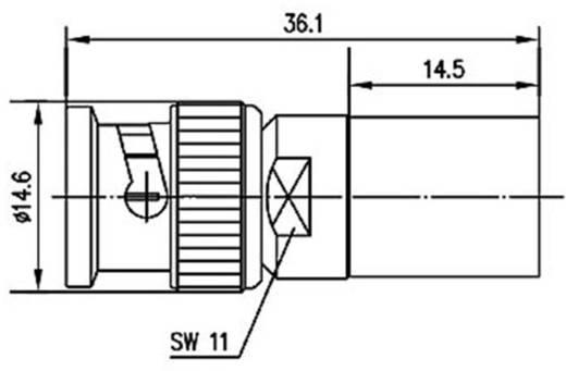 BNC csatlakozó Dugó, egyenes 50 Ω Telegärtner J01000A0059 1 db