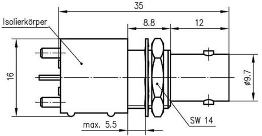 BNC csatlakozó Alj, beépíthető, függőleges 50 Ω Telegärtner J01001F0002 1 db