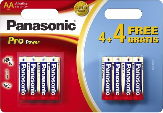 Ceruzaelem AA, alkáli mangán, 1,5V, 8 db, Panasonic Pro Power LR06, AA, LR6, AAB4E, AM3, 815, E91, LR6N