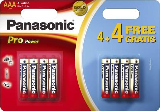 Mikroelem AAA, alkáli mangán, 1,5V, 8 db, Panasonic Pro Power LR03, AAA, LR3, AM4M8A, AM4, S