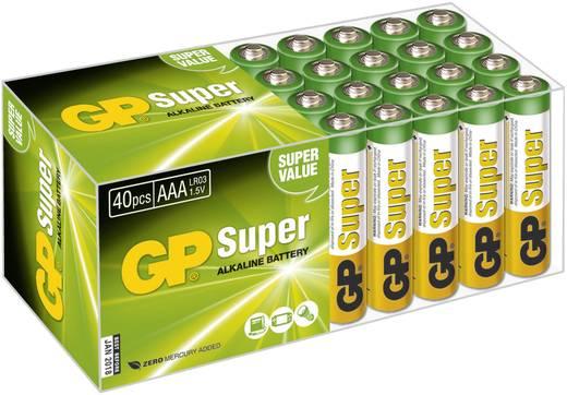 Mikroelem AAA, alkáli mangán, 1,5V, 40 db, GP Super LR03, AAA, LR3, AM4M8A, AM4, S