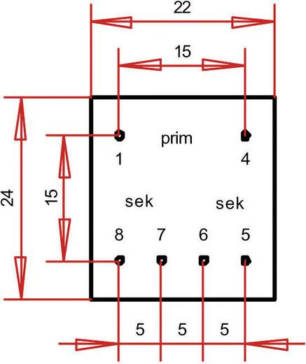 EE 20/6,1 Nyák transzformátor, 230 V / 2 x 9 V 19 mA 0,35 VA Gerth