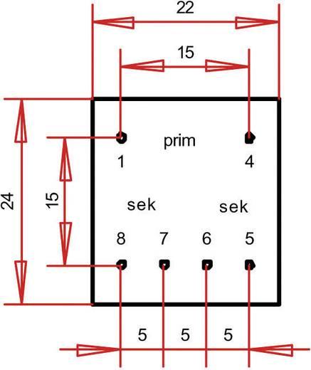 EE 20/6,1 Nyák transzformátor, 230 V / 2 x 15 V 11 mA 0,35 VA Gerth