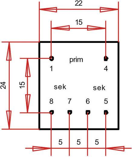 EE 20/10,5 Nyák transzformátor, 230 V / 2 x 12 V 20 mA 0,5 VA Gerth