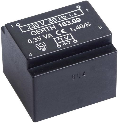 EE 20/10,5 Nyák transzformátor, öko kivitel, 230 V / 2 x 6 V 29 mA 0,35 VA Gerth