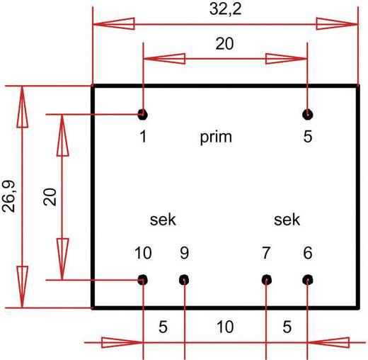 EI 30/15,5 Nyák transzformátor, 230 V / 2 x 3 V 300 mA 1,8 VA Gerth