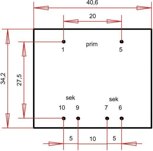 EI 38/13,6 Nyák transzformátor, 230 V / 2 x 6 V 300 mA 3,6 VA Gerth