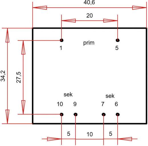EI 38/13,6 Nyák transzformátor, 230 V / 2 x 12 V 150 mA 3,6 VA Gerth