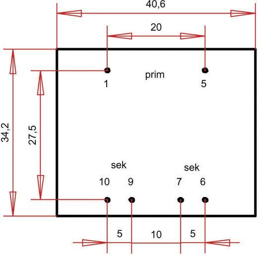 EI 38/13,6 Nyák transzformátor, 230 V / 2 x 15 V 120 mA 3,6 VA Gerth