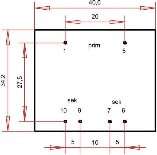 EI 38/13,6 Nyák transzformátor, 230 V / 2 x 30 V 60 mA 3,6 VA Gerth