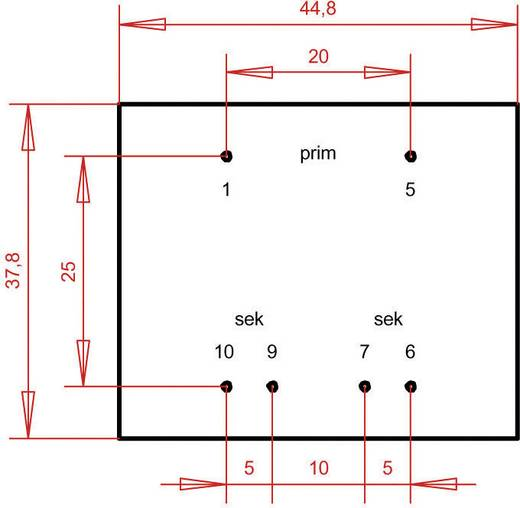 EI 42/14,8 Nyák transzformátor, 230 V / 2 x 6 V 400 mA 4,8 VA Gerth