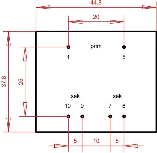 EI 42/14,8 Nyák transzformátor, 230 V / 2 x 12 V 200 mA 4,8 VA Gerth