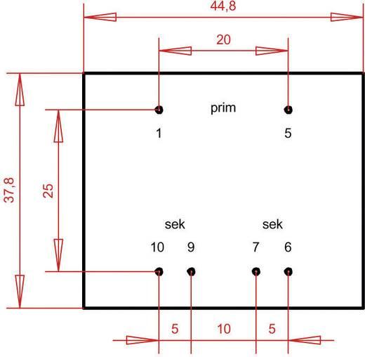 EI 42/14,8 Nyák transzformátor, 230 V / 2 x 15 V 160 mA 4,8 VA Gerth
