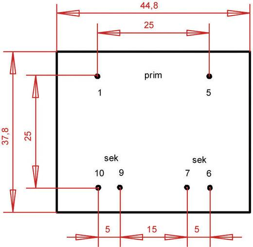 EI 42/14,8 Nyák transzformátor, 230 V / 2 x 7,5 V 373 mA 5,6 VA Gerth