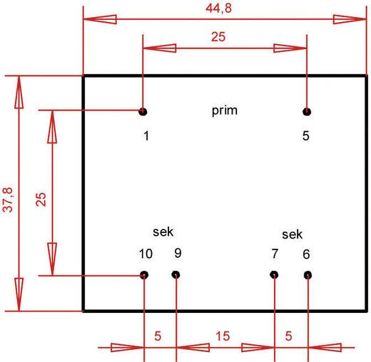 EI 42/14,8 Nyák transzformátor, 230 V / 2 x 18 V 155 mA 5,6 VA Gerth