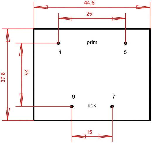 EI 42/20 Nyák transzformátor, 230 V / 18 V 444 mA 8 VA Gerth