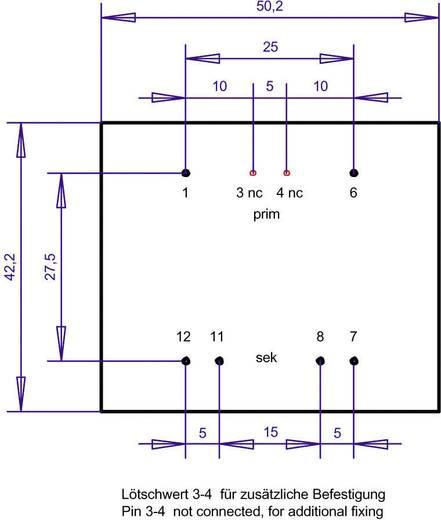EI 48/16,8 Nyák transzformátor, 230 V / 2 x 7,5 V 666 mA 10 VA Gerth