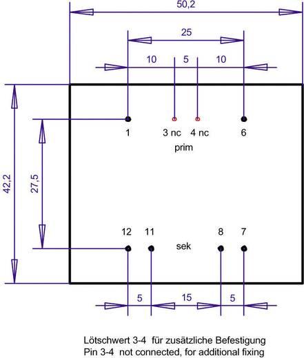 EI 48/16,8 Nyák transzformátor, 230 V / 2 x 9 V 555 mA 10 VA Gerth