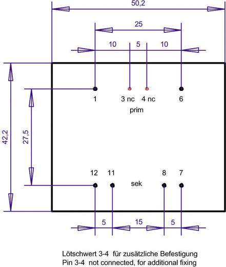 EI 48/16,8 Nyák transzformátor, 230 V / 2 x 12 V 416 mA 10 VA Gerth