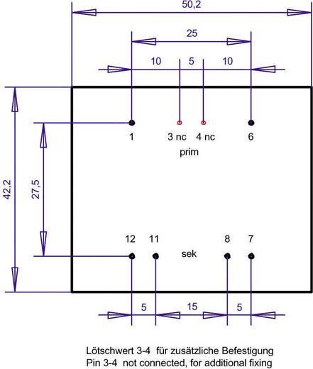 EI 48/16,8 Nyák transzformátor, 230 V / 2 x 15 V 333 mA 10 VA Gerth