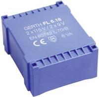 Gerth FL6.30 Nyomtatott áramköri transzformátor 2 x 115 V 2 x 15 V/AC 6 VA 200 mA Gerth