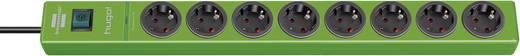 Túlfeszültségvédős hálózati elosztó kapcsolóval, 8 részes, zöld, Brennenstuhl 1150610398