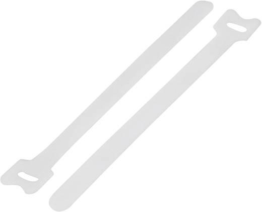 Tépőzár kábelkötegelő kötegeléshez, bolyhos és horgos fél (H x Sz) 240 mm x 16 mm, fehér KSS MGT-240WE 1 db