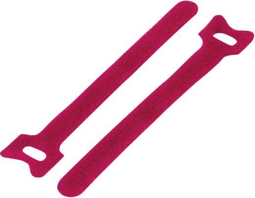 Tépőzár kábelkötegelő kötegeléshez, bolyhos és horgos fél (H x Sz) 180 mm x 12 mm, piros KSS MGT-180RD 1 db