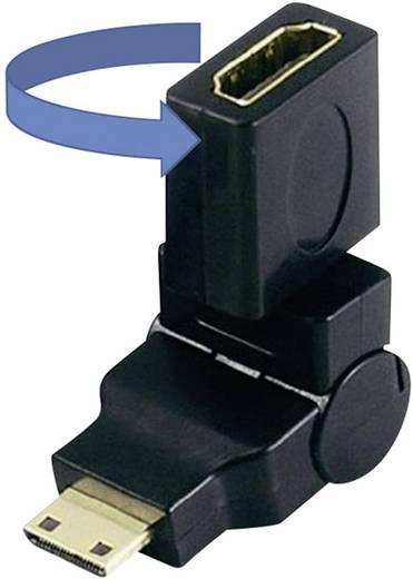 HDMI átalakító adapter, 1x mini HDMI C dugó - 1x HDMI aljzat, aranyozott, fekete, SpeaKa Professional