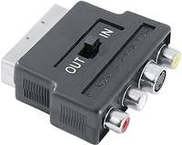 Hama SCART / Kompozit RCA / S videó AV Átalakító [1x SCART dugó - 3x RCA alj, S-videó alj] Fekete Hama