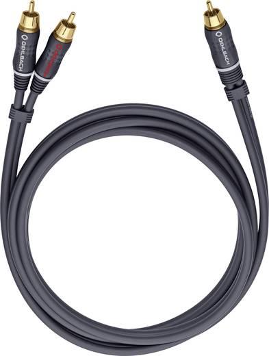 RCA Y elosztó kábel, 1x RCA dugó - 2x RCA dugó, 8 m, aranyozott, antracit, Oehlbach BOOOM 800