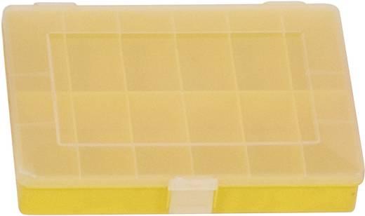Üres alkatrésztároló doboz, zárható 12 rekeszes, sárga Alutec 608200