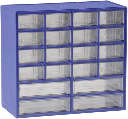 Üres alkatrésztároló fiókos szekrény 20 rekeszes Alutec 630301