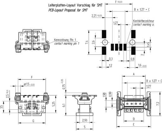 Mini híd csatlakozótűsor Kivitel P Csatlakozósor, egyenes 294920 ERNI Tartalom: 1 db