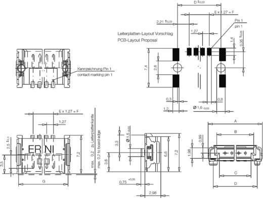 Mini híd csatlakozótűsor Kivitel A Csatlakozó tűsor hajlított 214013 ERNI Tartalom: 1 db