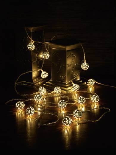 Beltéri fényfüzér, gömbök, 4,5m, 16 LED, melegfehér, Polarlite 1170821